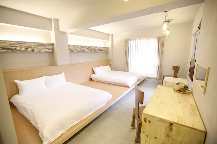 2 beds room#A8 with private bathroom & balcony