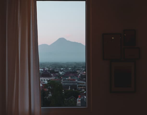 Mount Merapi, viewed from the room's private window