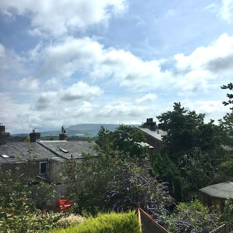 View from the flat window - Pendle Hill in the distance