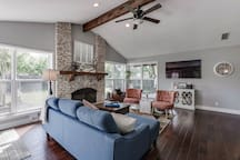 No curtains for this beautiful living room. We want to let all the light in!