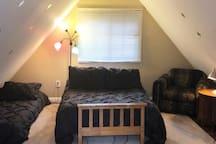 Loft bedroom: double & single beds