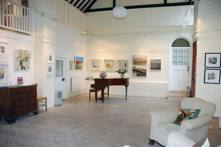 Gallery hall with exhibition