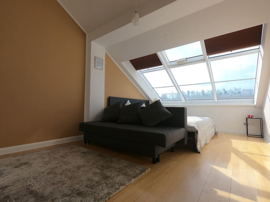 The convertible sofa can sleep 2 people and the skylights have very good shutters