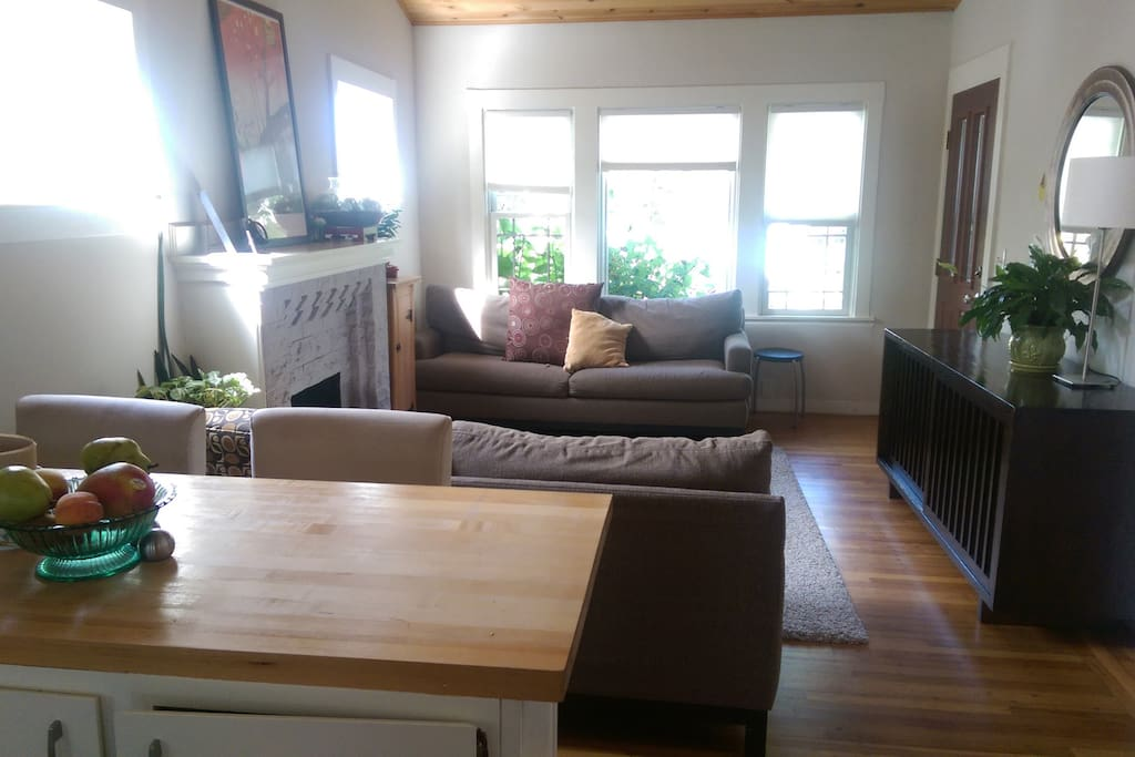 kitchen counter and living room