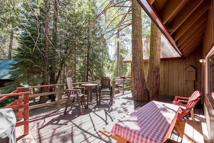 Cozy and authentic cabin in the forest with wood fireplace, walk to town!