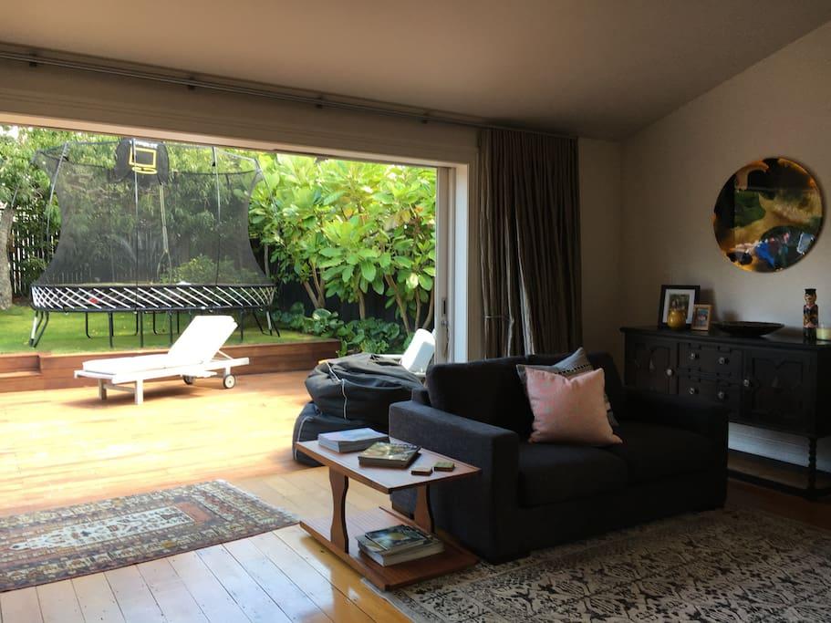 Living room (open sliding doors to outdoor living)