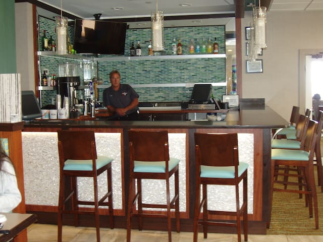 Bar is near the lobby.