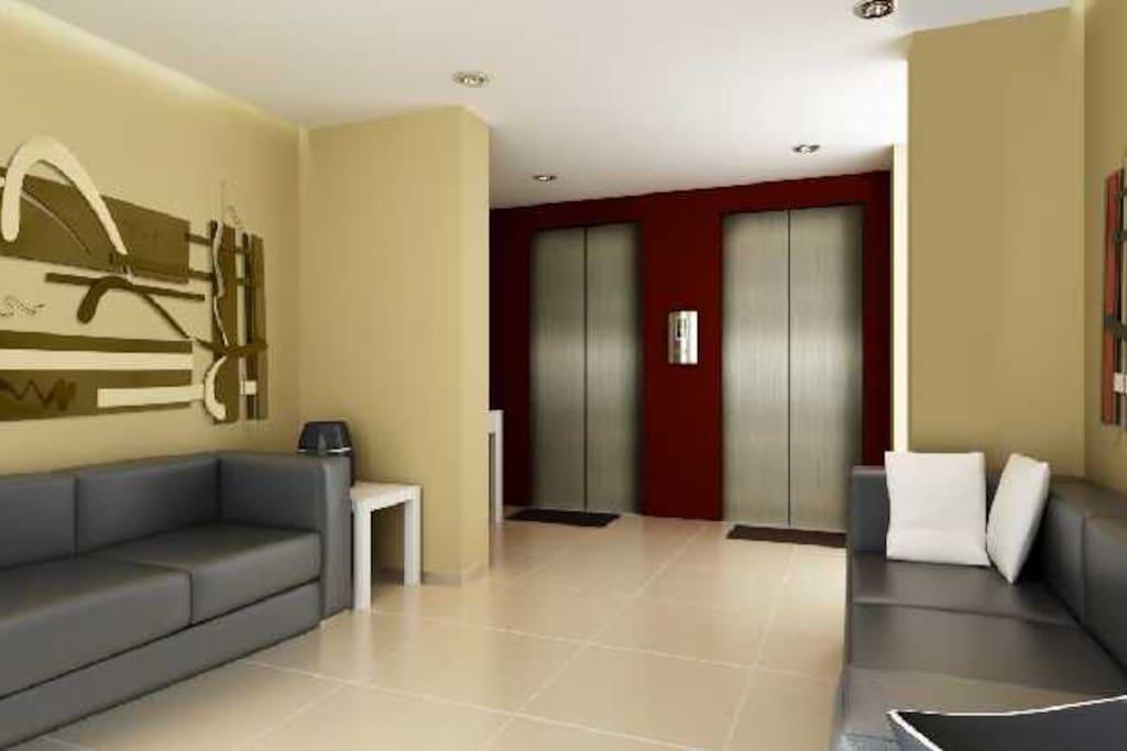 Acesso aos elevadores, obtida do projeto através do site do condomínio.