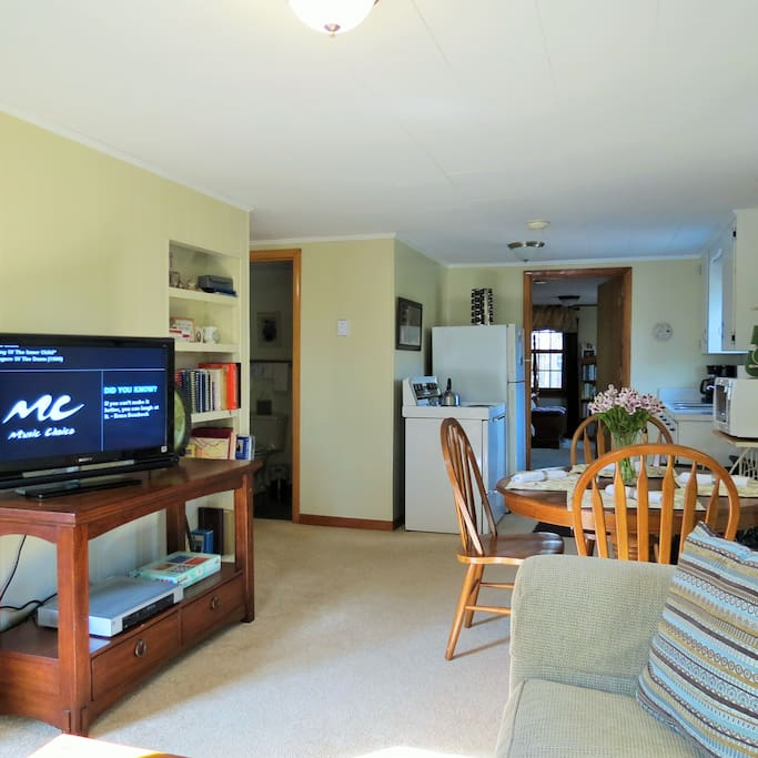 This pictures gives a good idea of the flow of the apartment.  NOTICE how this wall separates the living area from one of the sleeping areas.  We have several videos,  games, and some reading materials here.