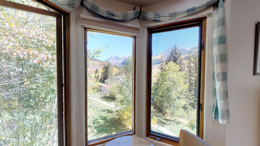 Beautiful view of the Crystal River and the Elk Mountains from the bay window in the Treasure Mountain Room.