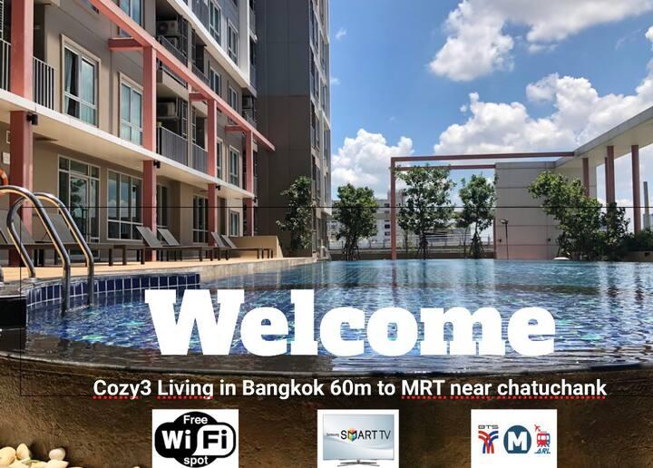 Cozy3Living❤️in Bangkok 60m to MRT near chatuchank