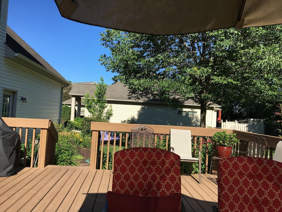 Large deck with comfortable seating
