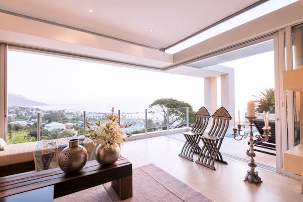 front formal lounge  with amazing mountain and see views of entire camps bay