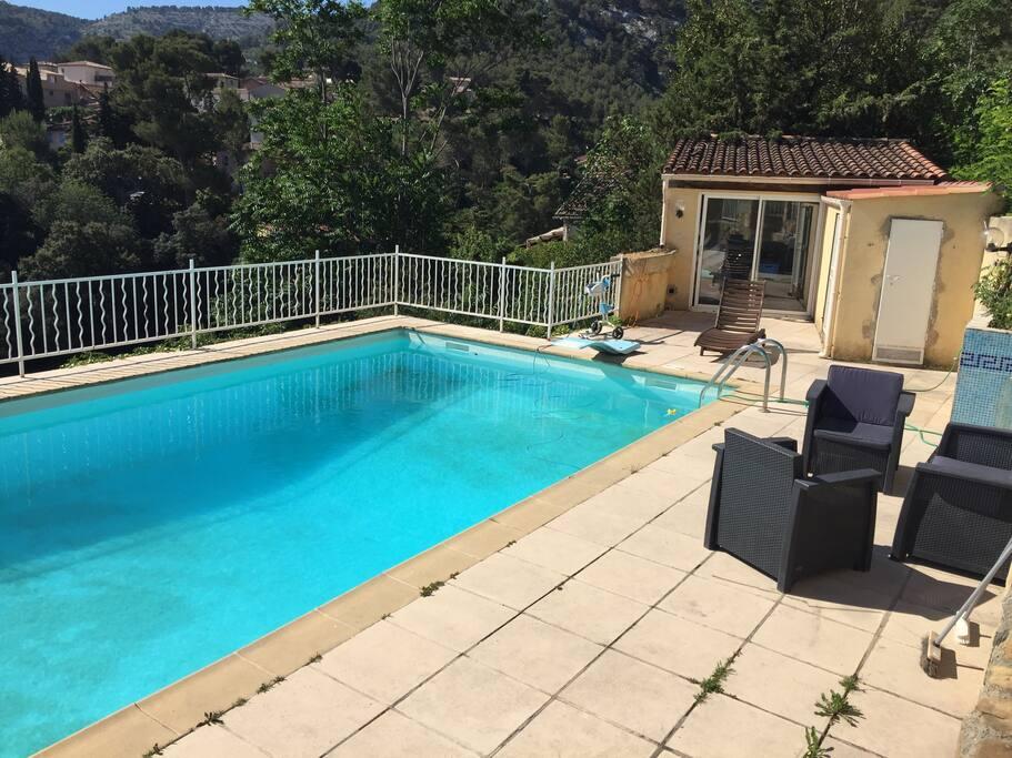 La piscine avec son petit salon de jardin que vous pouvez profitez