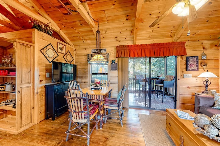 Charming, dog-friendly cabin w/ a kitchenette, private hot tub, & gas grill
