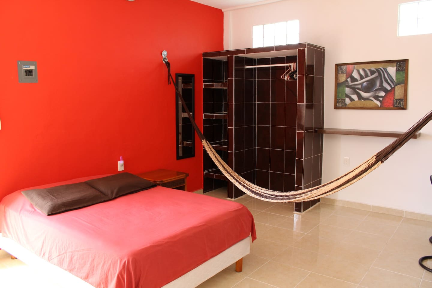 Bed room area. With full size bed and hamak.