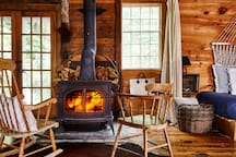 The wood burning stove is the Barn's heart in the cold months. We provide all the wood you'll need plus detailed instructions on how to operate the stove. The Barn will be fully heated once you arrive.