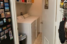 Don't want to go home (or to your next destination) with dirty clothes? Do a load in the full size washer/dryer! Detergent and dryer sheets provided above machines.