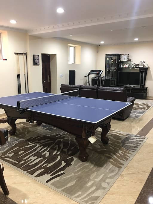 Ping pong table and pool table in common area