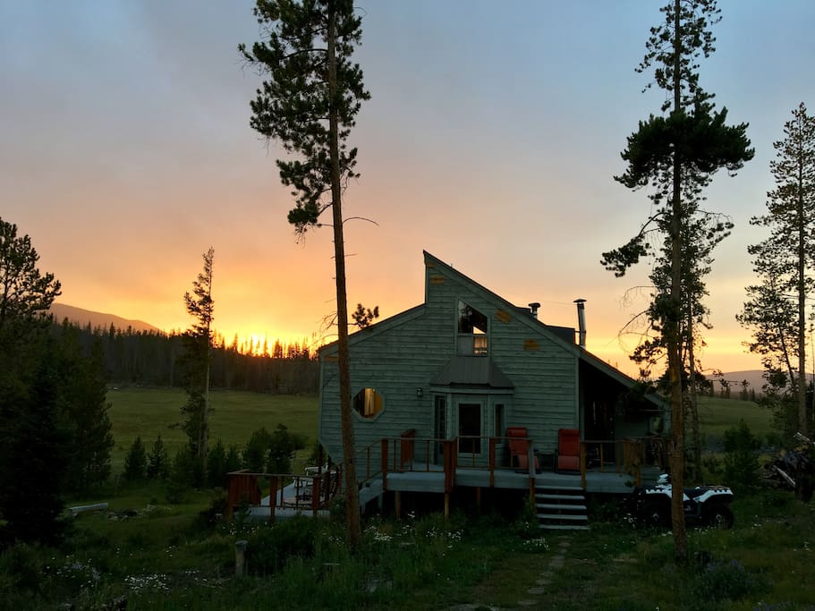 Front of cabin at sunset
