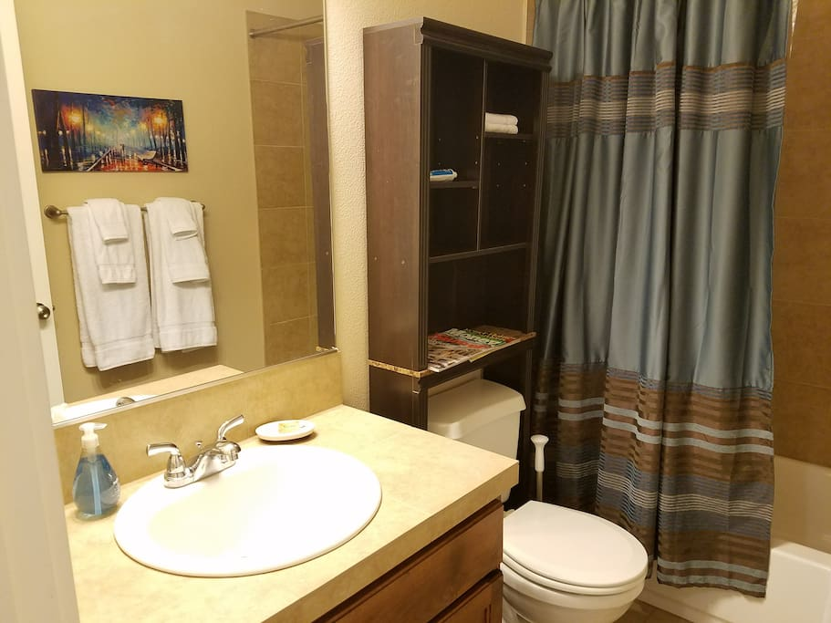 Lookin Good! Big mirror and lots of light - Full size bath and shower stocked with high quality essentials.