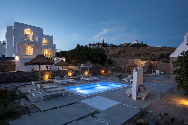 Luxury Seaview Villa close to Town & Ornos Beach