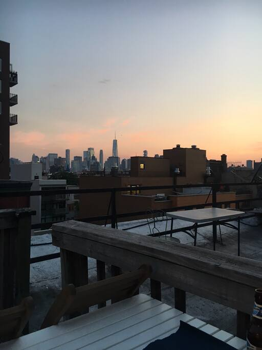 Sunset on the rooftop - you can see the 1 World Trade!