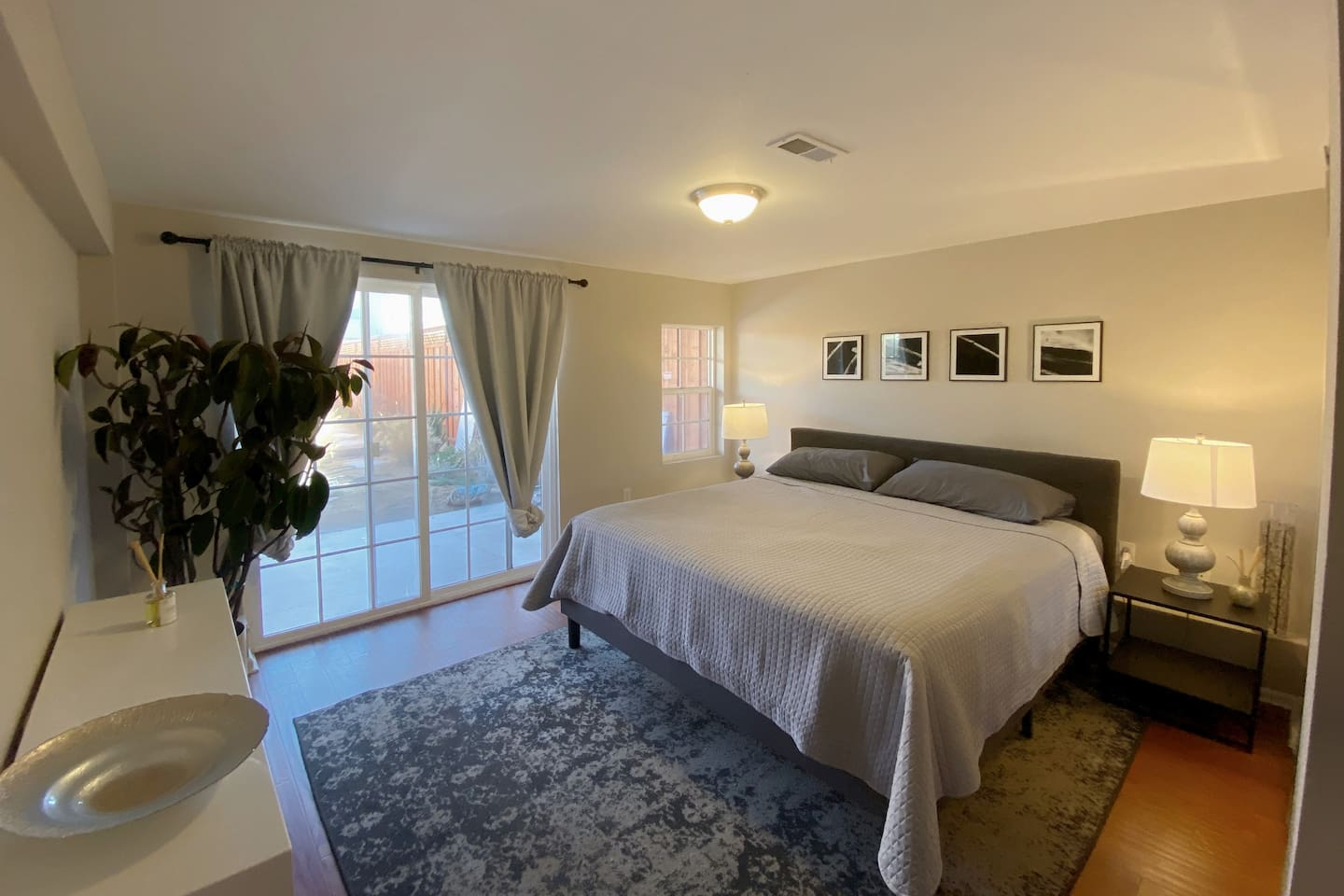 Large bedroom with king bed and large closet