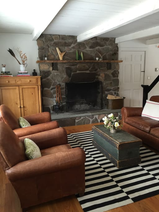 Big stone fireplace and cozy living room
