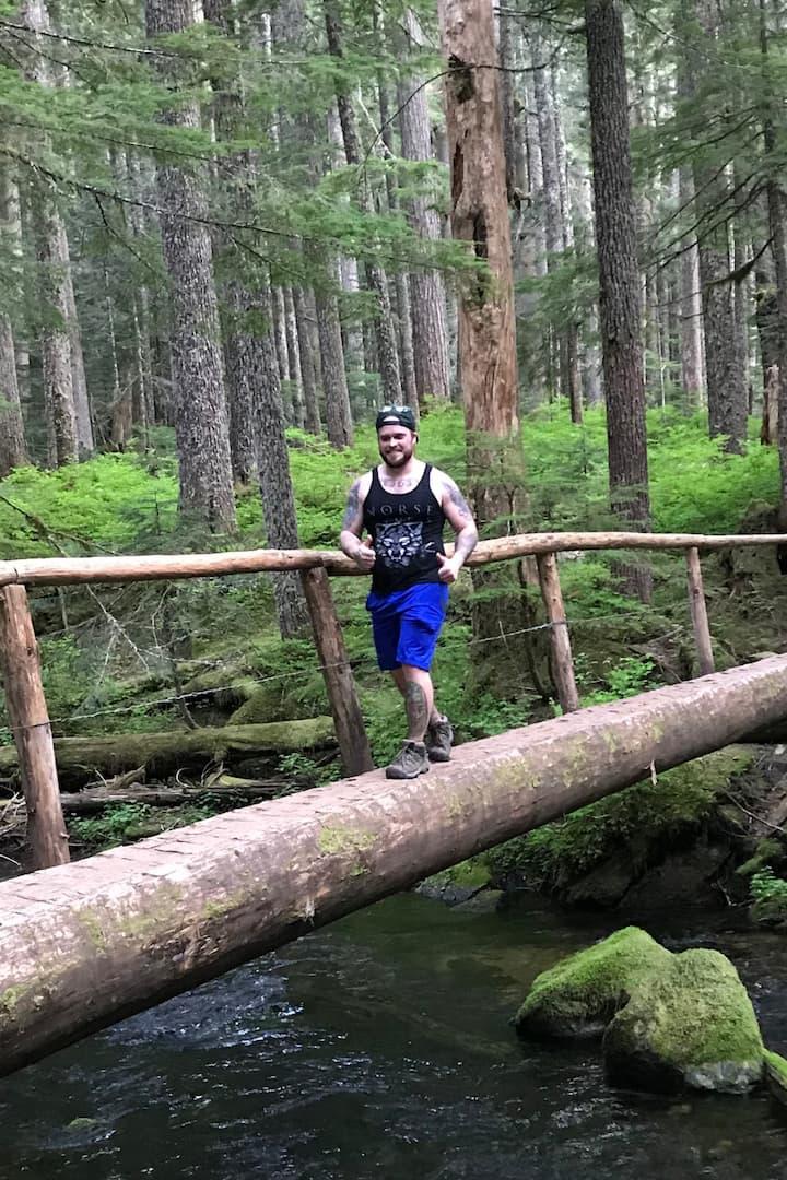 Me having fun crossing a beautiful pond