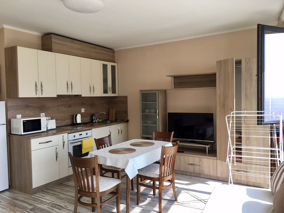 Dining space/kitchen/TV