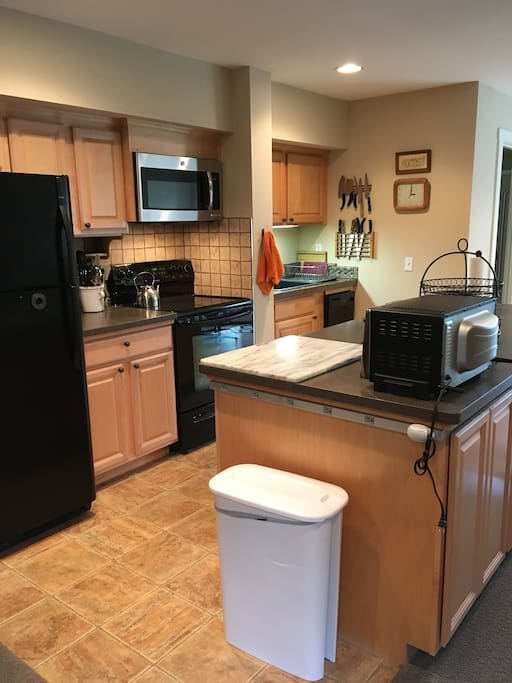 Full kitchen  includes electric range, microwave, refrigerator, dishwasher, and sink with garbage disposal.