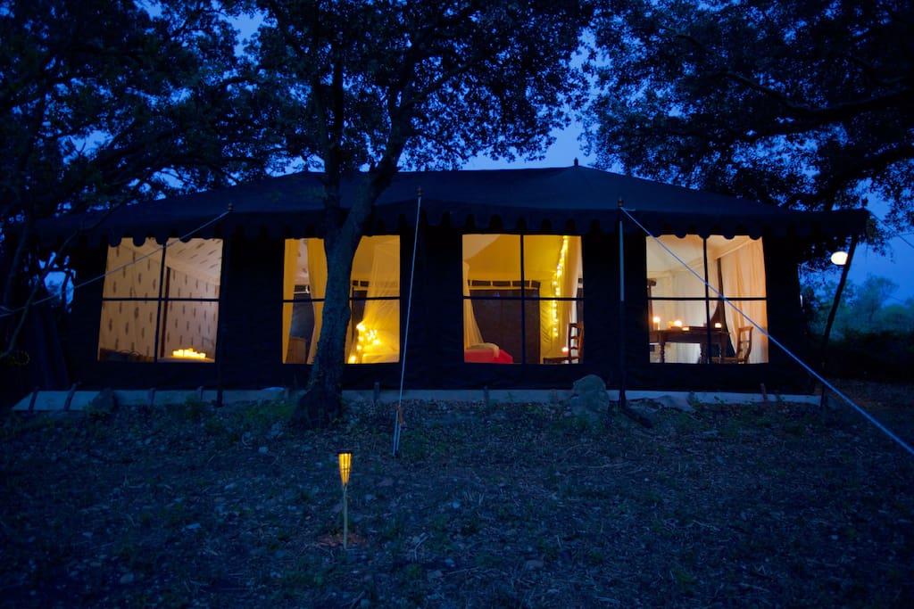 Solar lit 36m2 Indian tent