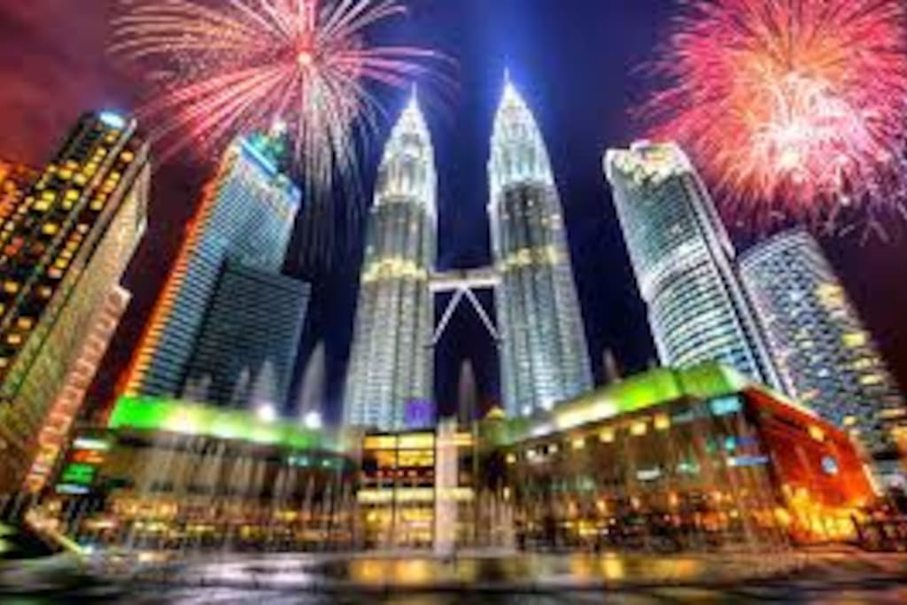 15 mins direct  train to KLCC shopping mall doorstep