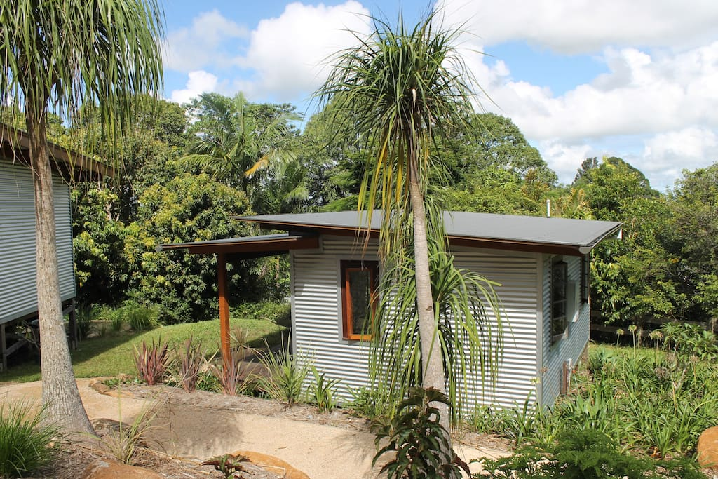 Cabin and palm trees and garden path
