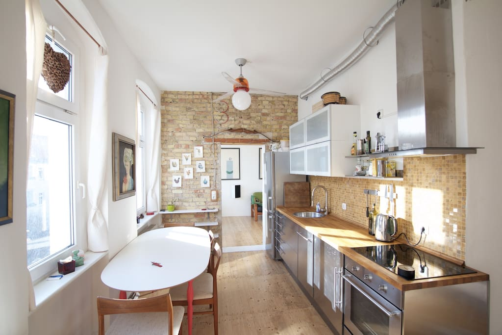 Kitchen with unique design features and artwork