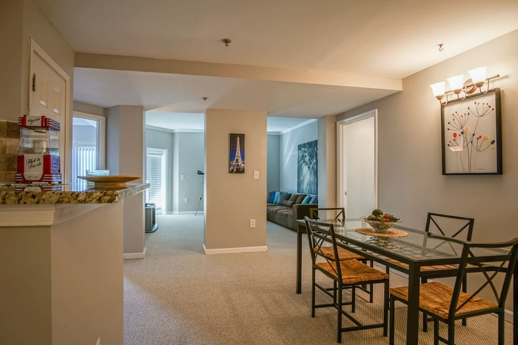 Spacious areas with new furniture, carpet and paint
