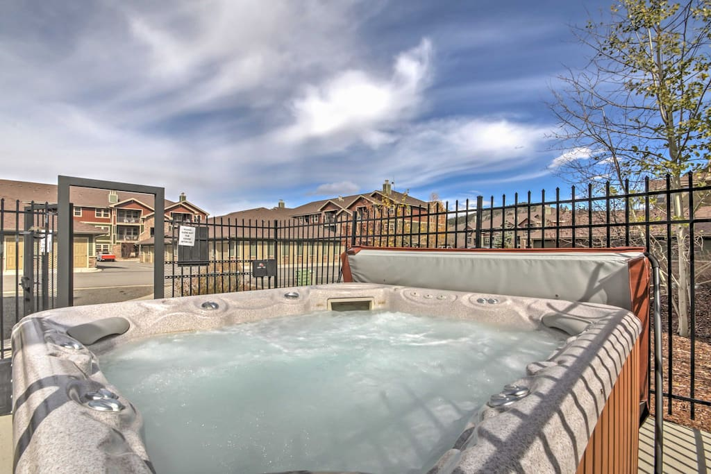 After spending your day exploring the great outdoors, come home to take a soothing dip in the community hot tub.