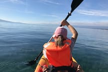 Two kayaks and equipment is available for free. Paddle quickly to Cully or Lutry.