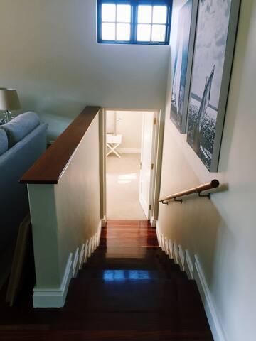 Stairway down to main bedroom