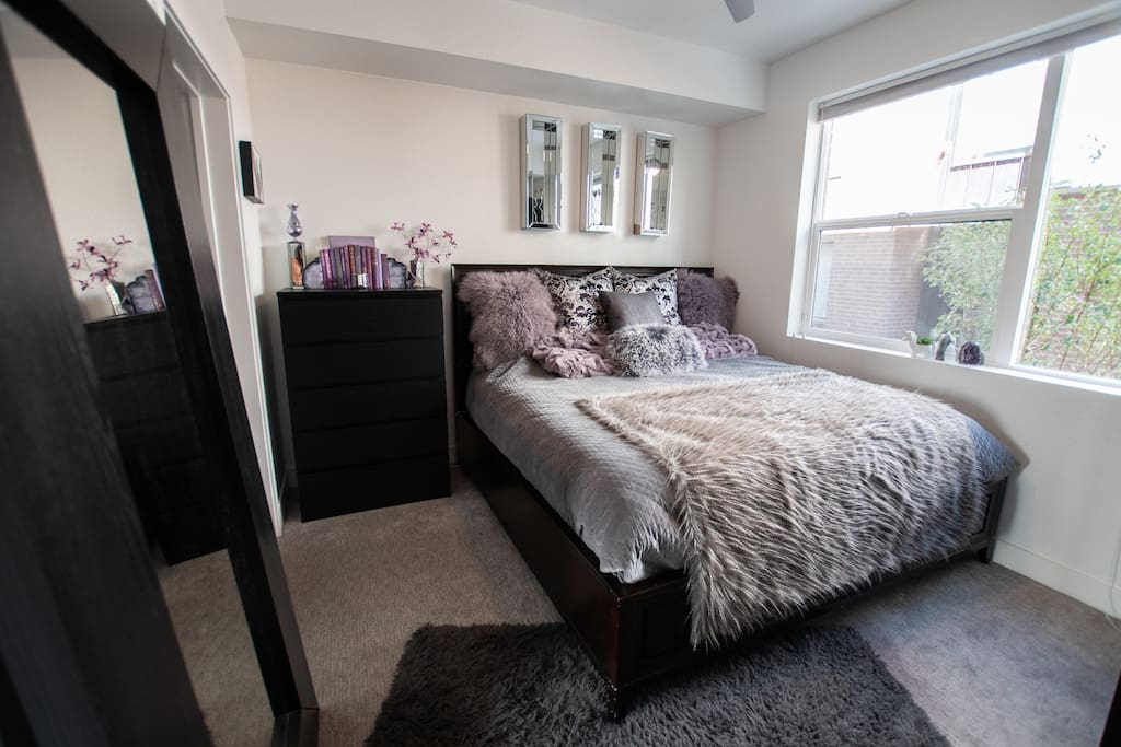 """""""Amethyst"""" - Bedroom 1 of 3 (First Floor) - King size pillow top memory foam bed with private 3/4 bathroom."""