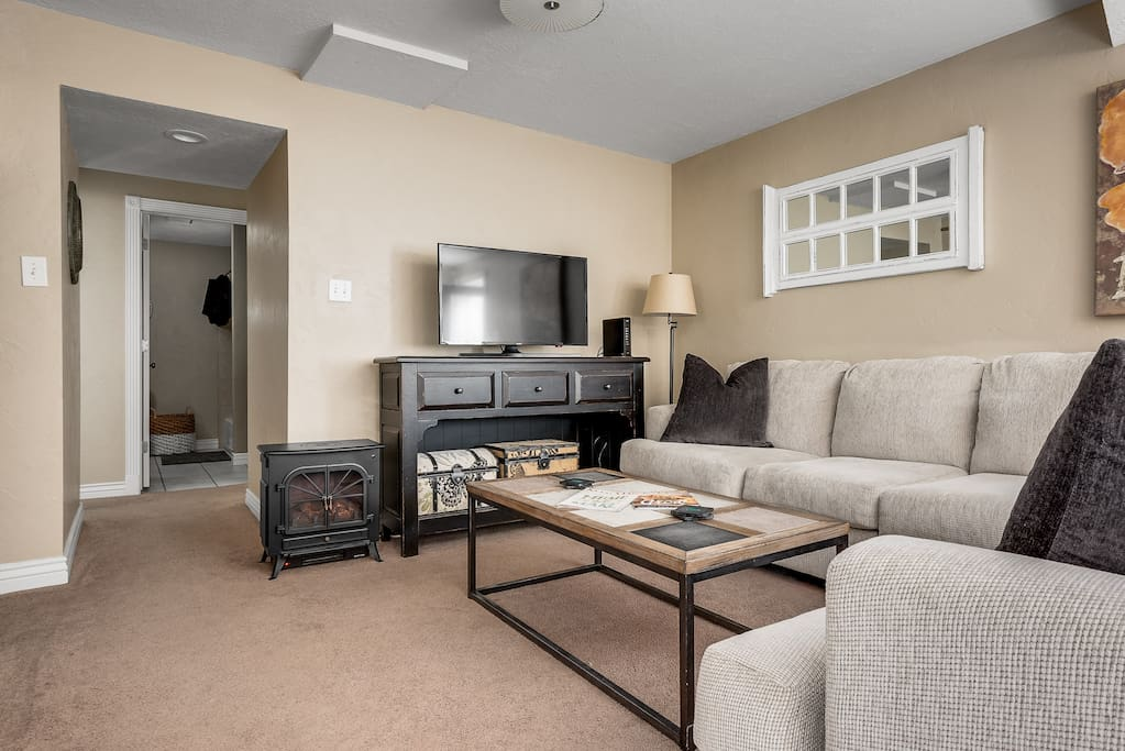 Generous Sectional provides ample seating in comfy living area.