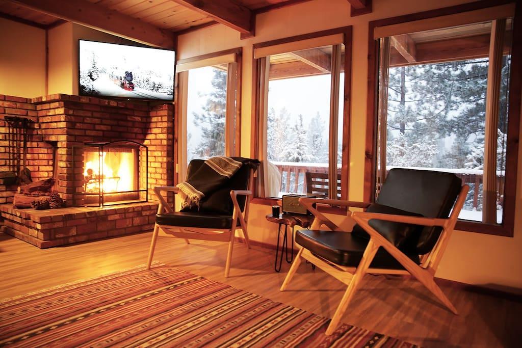 Living room with ski slope views