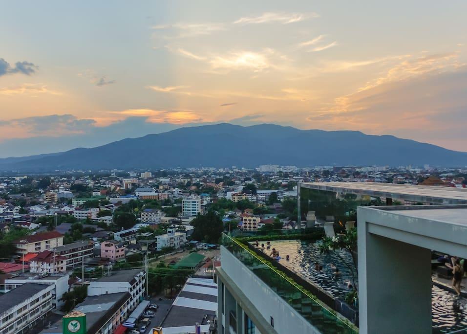 City & Mountain view (Doi Suthep mountain) the heritage of Chiang mai.
