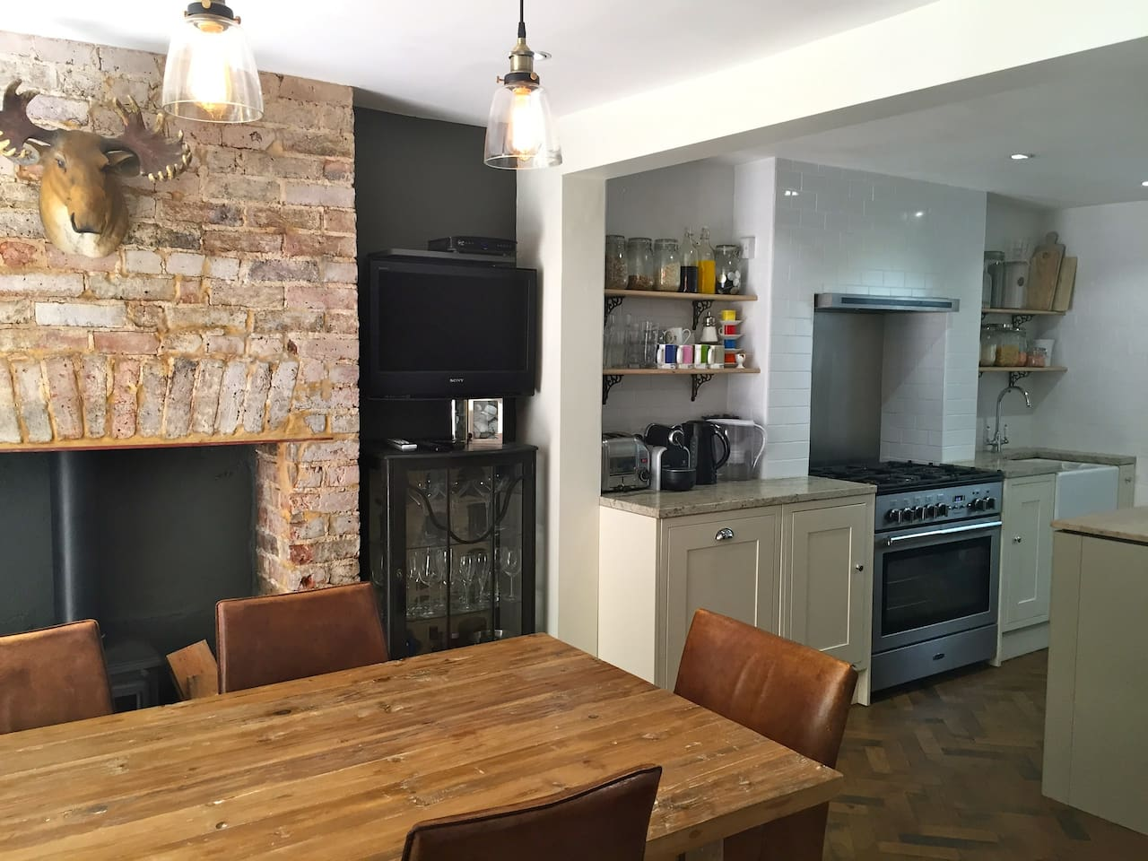 Lovely open-plan kitchen diner with double doors onto the garden