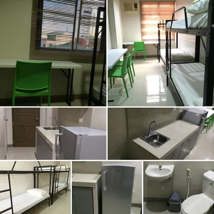 Semi-furnished studio unit with two double-deck beds, study table and chairs, air-conditioner and refrigerator.
