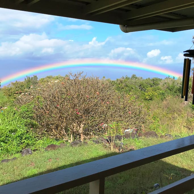 Rainbow over the ocean from the covered lanai.