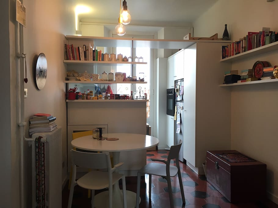 This is the kitchen - you'll get to use it if you need (washing machine for your laundry too)
