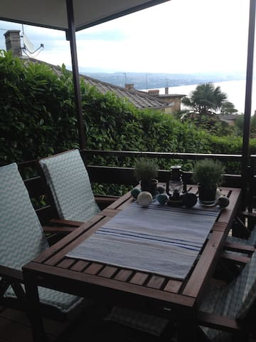 The terrace with the sea view