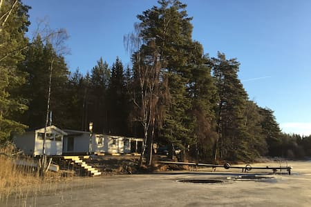 Luxury 5m from lake, sauna + boat. - Vetlanda - Casa